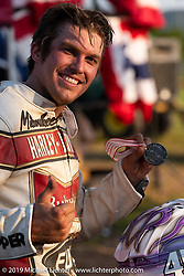 Hooligan flattracker JJ Flairty after the Spirit of Sturgis races at the fairgrounds during the Sturgis Black Hills Motorcycle Rally. Sturgis, SD, USA. Monday, August 5, 2019. Photography ©2019 Michael Lichter.