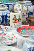 Close-up shot of communist antiques for sale at a market, Old Street, Tunxi district, Huangshan City, Anhui Province, China