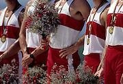Barcelona, SPAIN.  CAN M8+ gold medalist, Andrew CROSBY, Bruce ROBERTSON, Darren BARBER, Derek PORTER, John William WALLACE, Michael G. RASCHER, Michael Joseph FORGERON, Robert Davies MARLAND and cox Terence Michael PAUL. 1992 Olympic Rowing Regatta Lake Banyoles, Catalonia [Mandatory Credit Peter Spurrier/ Intersport Images]
