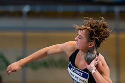 Anne van de Wiel in action on shot put during the Dutch Athletics Championships on 14 February 2021 in Apeldoorn