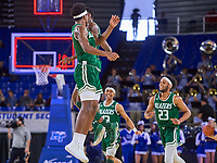 UAB Blazers forward Kassim Nicholson (11) reacts to scoring a slam dunk to end the first half during the UAB Blazers at Middle Tennessee Blue Raiders college basketball game in Murfreesboro, Tennessee, Saturday, February, 15, 2020. Middle lost 79-66.<br /> Photo: Harrison McClary/All Tenn Sports