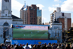 June 16, 2018 - Buenos Aires, Argentina - A giant screen displayed in Plaza Moreno..Thousands of football fans took to the main square in Buenos Aires to see the Argentine national football team play in the first group match vs Iceland. (Credit Image: © Fernando Oduber/SOPA Images via ZUMA Wire)
