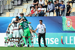 MARIBOR, SLOVENIA - JUNE 03: Fabio Vieira of Portugal celebrates with teammates after scoring their team's first goal during the 2021 UEFA European Under-21 Championship Semi-finals match between Spain and Portugal at Stadion Ljudski vrt on June 3, 2021 in Maribor, Slovenia. (Photo by Grega Valancic/MB Media/Getty Images)