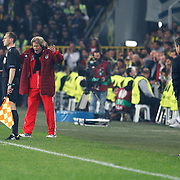 Benfica's coach Jorge Jesus (2ndL) during their UEFA Europa League Semi Final first match Fenerbahce between Benfica at Sukru Saracaoglu stadium in Istanbul Turkey on Thursday 25 April 2013. Photo by Aykut AKICI/TURKPIX
