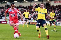 Ajaccio's Brazilian forward Eduardo Ribeiro Dos Santos  vies with Sochaux's defender Mathieu Philippe Peybernes during the french L1 football match Ajaccio vs Sochaux in the Francois Coty stadium in Ajaccio, Corsica, on May 2, 2012. PHOTO PASCAL POCHARD-CASABIANCA / AFP / DPPI
