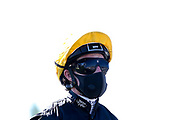 Jockey Rob Hornby wears a face mask in line with Coronavirus guidelines - Mandatory by-line: Robbie Stephenson/JMP - 25/06/2020 - HORSE RACING - Bath Racecoure - Bath, England - Bath Races 25/06/20