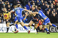 Dougie Fife under pressure during the Guinness Pro 14 2018_19 match between Edinburgh Rugby and Dragons Rugby at Murrayfield Stadium, Edinburgh, Scotland on 15 February 2019.