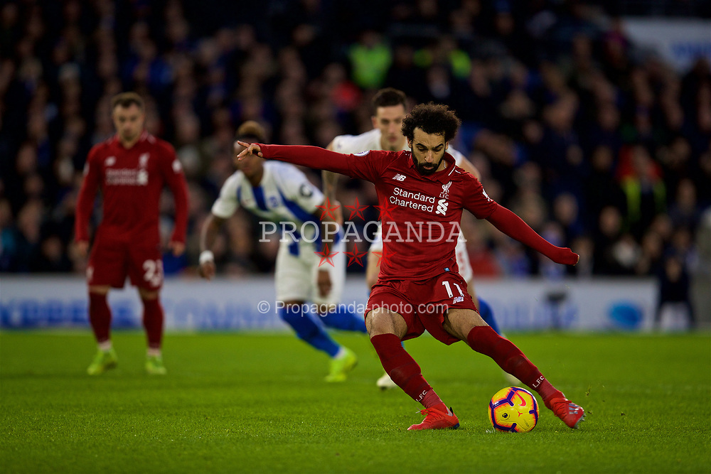 BRIGHTON AND HOVE, ENGLAND - Saturday, January 12, 2019: Liverpool's Mohamed Salah scores the winning goal from a penalty kick during the FA Premier League match between Brighton & Hove Albion FC and Liverpool FC at the American Express Community Stadium. Liverpool won 1-0. (Pic by David Rawcliffe/Propaganda)