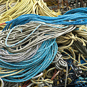 Coiled ropes on a fishing boat in Gloucester harbor, Massachusetts
