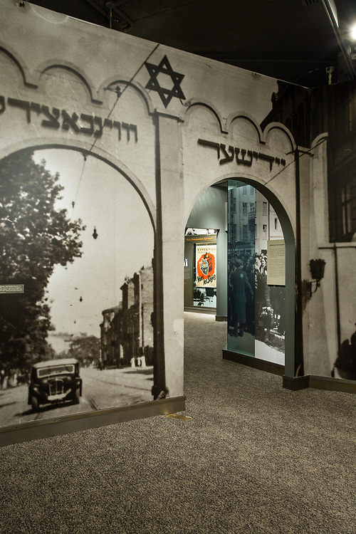 The entrance to an exhibit on the ghettoes is in the form of the gate to a Polish gehetto.