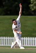 Ed Nuttall of Canterbury bowls. Canterbury vs. Central Districts Day 2, 1st round of the 2021-2022 Plunket Shield cricket competition at Hagley Oval, Christchurch, on Sunday 24th October 2021.<br /> © Copyright Photo: Martin Hunter/ www.photosport.nz
