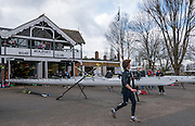 Molesey, Surrey. Competitors, prepare on the concorse in fron of Molesey BC. Boathouse. Molesey Veterans Head. Saturday  21/02/2015  [Mandatory Credit; Peter Spurrier/Intersport-images]
