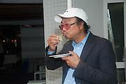 RIRKRIT TIRAVANIJA<br /> , Bloomberg Venice Conversations, Siddhartha Mukherjee, Rirkrit Tiravanija and Tomas Vu Daniel cook lunch for Sarah Sze. Palazzo Peckham. Venice. Venice Bienalle. 31 May 2013