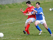 Alan Nicholson, Medtronic doing battle with Sean Mitchell, Mannions in Westpark in Galway Photo:Andrew Downes