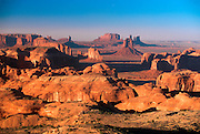 ARIZONA, MONUMENT VALLEY TRIBAL PARK on the Navajo Reservation; the entire valley of famous sandstone mesas and buttes seen from Hunt's Mesa