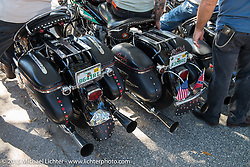 Custom Harley-Davidson Panheads at the Chopper Time Old School Bike Show at Willy's Tropical Tattoo during the Biketoberfest Rally. Ormond Beach, FL, USA. October 15, 2015.  Photography ©2015 Michael Lichter.