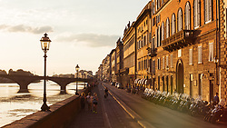 Arno river bank in Florence, Italy. 26/08/15. Photo by Andrew Tallon