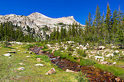 Unicorn Creek under Unicorn Peak, Tuolumne Meadows, Yosemite National Park, California USA