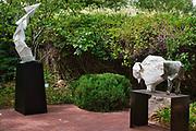 """Folding Planes"" and ""Tatanka Ska"" in the garden at Kay Contemporary Art in Santa Fe."