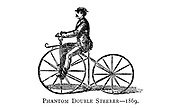 Phantom Double Steerer 1869 From Wheels and Wheeling; An indispensable handbook for cyclists, with over two hundred illustrations by Porter, Luther Henry. Published in Boston in  1892