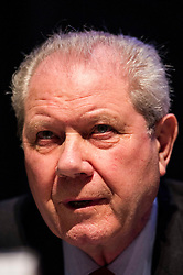 Pictured: Jim Sillars<br /> <br /> The Institute and Faculty of Actuaries hosted a flagship European Union referendum debate for around 250 delegates in Edinburgh tonight. Speakers at the event were Matthew Anderson, member of the Advisory Board - Britain Stronger in Europe, Jim Sillars, former deputy leader of the SNP, Jo Shaw, Salvesen Chair of European Institutions, Nigel Griffiths, Labour Leave Scotland and former deputy leader of the House of Commons Nigel Griffiths and  David Bell, Professor of Economics, University of Stirling.<br /> Ger Harley | EEm 5 April 2016