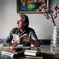 Nederland, Amsterdam , 27 augustus 2014.<br /> Wim Brands, dichter, journalist en presentator bij de VPRO sinds 1987.<br /> Foto:Jean-Pierre Jans