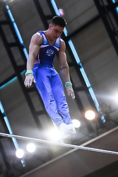 October 21, 2018 - Doha, Qatar - NIKITA NAGORNYY from Russia performs on the high bar during the first day of podium training before the competition held at the Aspire Dome in Doha, Qatar. (Credit Image: © Amy Sanderson/ZUMA Wire)