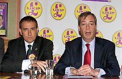 © licensed to London News Pictures. London, UK 12/04/2012. UKIP London Mayoral candidate Lawrence Webb and UKIP Leader Nigel Farage speaking at the launch of UKIP London Mayoral election campaign at Porters English Restaurant. UKIP announced Lawrence Webb as their Mayoral candidate and the campaign is backed by long term Tory supporter Peter Stringfellow. Photo credit: Tolga Akmen/LNP