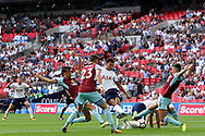 Dele Alli of Tottenham Hotspur (c) scores his team's first goal. Premier league match, Tottenham Hotspur v Burnley at Wembley Stadium in London on Sunday 27th August 2017.<br /> pic by Steffan Bowen, Andrew Orchard sports photography.