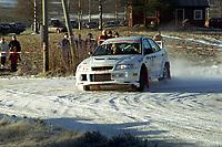 Motorsport, Rally Solør 2000. Sverre Isaksson / Johnny Olofsson på SS2 med sin Mitsubishi Lancer Evo VI Gr A