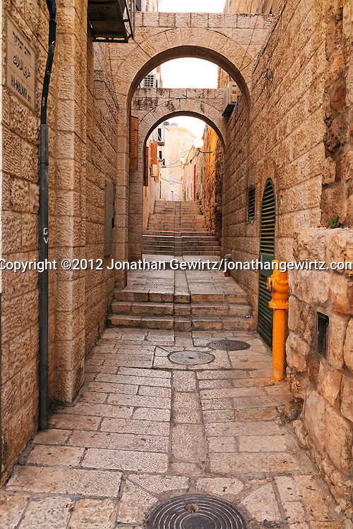 Ha-Malakh Street in the Jewish Quarter of the Old City of Jerusalem. WATERMARKS WILL NOT APPEAR ON PRINTS OR LICENSED IMAGES.