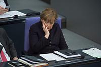 17 FEB 2016, BERLIN/GERMANY:<br /> Angela Merkel, CDU, Bundeskanzlerin, waehrend der Debatte zu ihrer Regierunsgerklaerung der zum Europaeischen Rat, Plenum, Deutscher Bundestag<br /> IMAGE: 20160217-03-050<br /> KEYWORDS: Debatte, nachdenklich