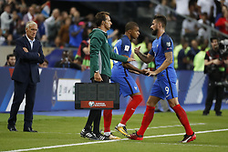 France's Kylian Mbappe replacing Olivier Giroud during the World Cup 2018 Group A qualifications soccer match, France vs Netherlands at Stade de France in Saint-Denis, suburb of Paris, France on August 31st, 2017 France won 4-0. Photo by Henri Szwarc/ABACAPRESS.COM