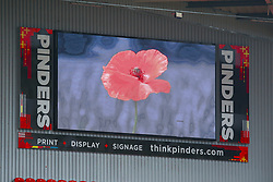 A poppy on a screen inside Aesseal New York Stadium, home to Rotherham United - Mandatory by-line: Ryan Crockett/JMP - 07/11/2020 - FOOTBALL - Aesseal New York Stadium - Rotherham, England - Rotherham United v Preston North End - Sky Bet Championship
