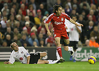 Photo: Paul Greenwood/Sportsbeat Images.<br />Liverpool v Fulham. The FA Barclays Premiership. 10/11/2007.<br />Liverpool's Yossi Benayoun, (R) escapes the challenge of Danny Murphy.