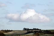 large cloud hanging over rural landscape France Languedoc Aude