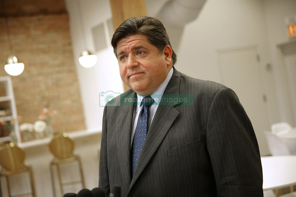 October 1, 2018 - Chicago, IL, USA - Democratic gubernatorial candidate JB Pritzker answers questions after a round table discussion Hillary Rodham Clinton and high school women at woman-only co-working space EvolveHer in the River West neighborhood on Monday, Oct. 1, 2018 in Chicago, Ill. (Credit Image: © E. Jason Wambsgans/Chicago Tribune/TNS via ZUMA Wire)