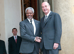September 21, 2016 - Paris, IDF, France - Jacques Chirac Received Kofi Annan,ONU Secretary General At Elysee Palace In Paris  (Credit Image: © Visual via ZUMA Press)