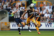 Nathaniel Knight-Percival of Bradford City heads the ball past Aiden O'Brien of Millwall. EFL Skybet football league one match, Millwall v Bradford city at The Den in London on Saturday 3rd September 2016.<br /> pic by John Patrick Fletcher, Andrew Orchard sports photography.
