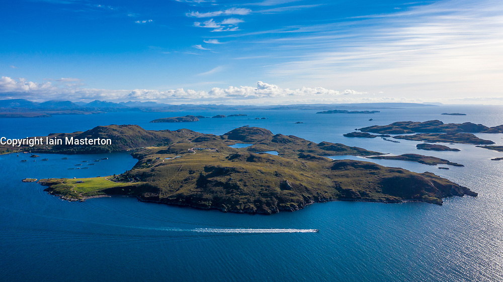 Aerial view of Tanera Mor the largest of the Summer Isles archipelago in Highland region of Scotland. UK