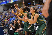 April 4, 2016; Indianapolis, Ind.; The UAA bench celebrates a made three pointer in the NCAA Division II Women's Basketball National Championship game at Bankers Life Fieldhouse between UAA and Lubbock Christian. The Seawolves lost to the Lady Chaps 78-73.