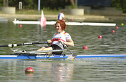 Seville, Andalusia, SPAIN<br /> <br /> 2002 World Rowing Championships - Seville - Spain Sunday 15/09/2002.<br /> <br /> GER W1X RUTSCHOW, Katrin<br /> <br /> Rio Guadalquiver Rowing course<br /> <br /> <br /> [Mandatory Credit:Peter SPURRIER/Intersport Images]