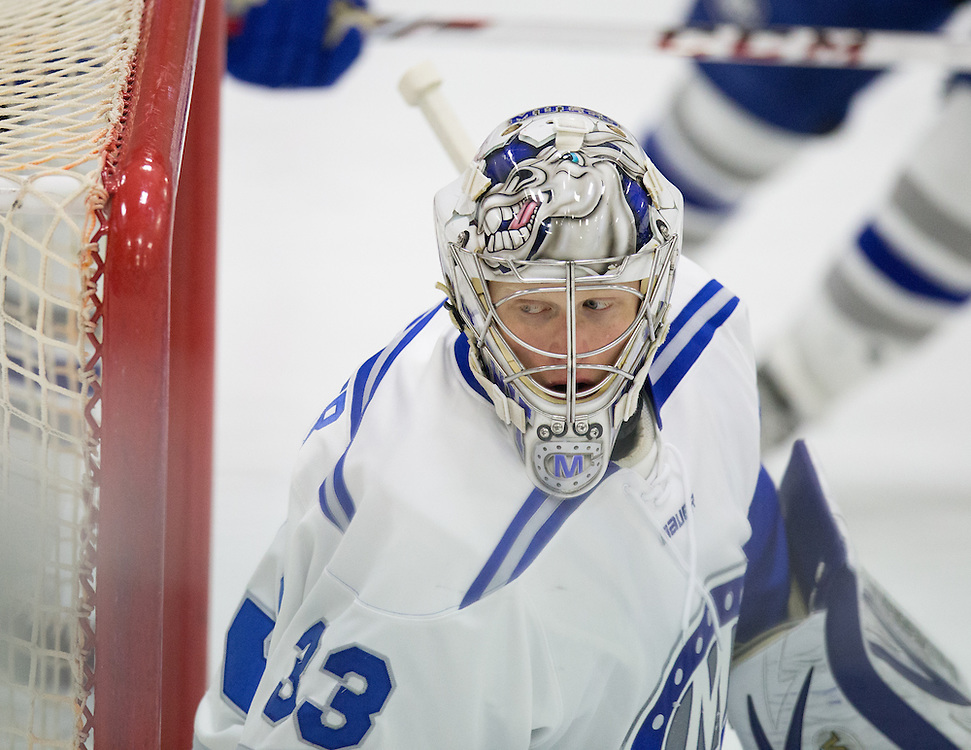 Sam Parker, of Colby College, in a NCAA Division III hockey game against Tufts University on February 20, 2015 in Waterville, ME. (Dustin Satloff/Colby College Athletics)