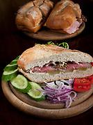 Roast Beef sandwich on a wooden tray