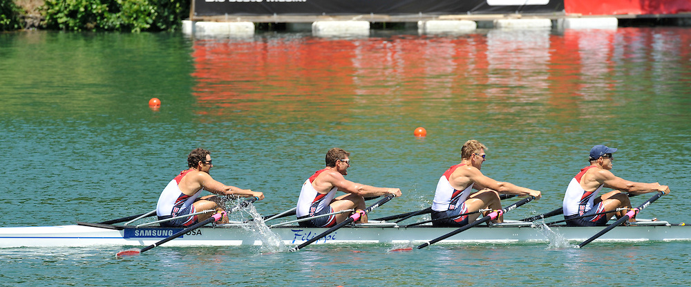 Lucerne SWITZERLAND,  USA M4X   competing in the morning heat at the 2011 FISA World Cup on the Lake Rotsee. Friday   08/07/2011   [Mandatory Credit Peter Spurrier/ Intersport Images]