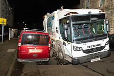 Bin lorry falls into sink hole, Edinburgh, 18 February 2021