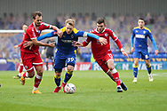 AFC Wimbledon striker Joe Pigott (39) dribbling and battles for possession during the The FA Cup match between AFC Wimbledon and Crawley Town at Plough Lane, London, United Kingdom on 29 November 2020.