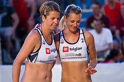 Mihela Istenic and Martina Jakob during women final match of Slovenian National Championship in beach volleyball Kranj 2012, on June 30, 2012 in Kranj, Slovenia. (Photo by Vid Ponikvar / Sportida.com)