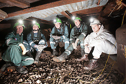 Operations manager Errol Parrish, Aiden Henderson, Liam Parish, Kevin Watts and Sun features Nick Francis. Mine Rescue Service at Crossgates Training Centre, Crossgates, Fife..Pic © Michael Schofield.