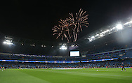 Fireworks over the stadium before kick off during the Champions League Group C match at the Etihad Stadium, Manchester. Picture date: November 1st, 2016. Pic Simon Bellis/Sportimage